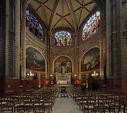 Chapel of the Virgin, built in 1640 and restored 1801-04, inaugurated by Pope Pius VII in 1804, in the Eglise Saint-Eustache or Church of St Eustache, built 1532-1632 at Les Halles, in the 1st arrondissement of Paris, France. This apse chapel contains a sculpture of the Virgin and Child by Jean-Baptiste Pigalle and 3 paintings by Thomas Couture depicting Virgin of the star sailors, Triumphant Virgin adored by angels and  Virgin comforting the afflicted. Picture by Manuel Cohen