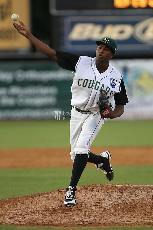 Kane County Cougars pitcher Robinson Yambati #40 delivers a pitch during a game against the Beloit Snappers at Fifth Third Bank Ballpark on June 26, 2012 in Geneva, Illinois. Beloit defeated Kane County 8-0. (Brace Hemmelgarn)