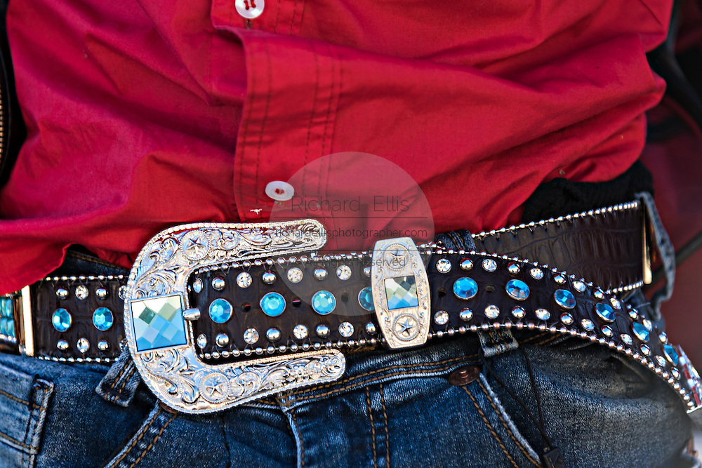 Detail of the belt warn by a Mexican cowboy on the final day during the annual Cabalgata de Cristo Rey pilgrimage January 6, 2017 in Guanajuato, Mexico. Thousands of Mexican cowboys and horse take part in the three-day ride to the mountaintop shrine of Cristo Rey.