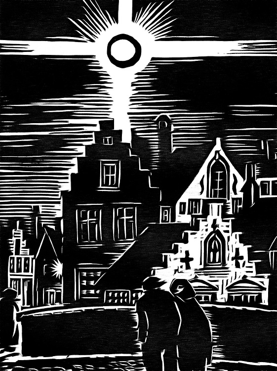 A black / white drawing of night walk