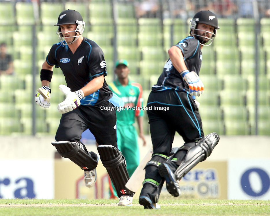 Anton Devcich and Hamish Rutherford, New Zealand Black Caps v Bangladesh, 1st and only T20 international cricket match at Shere Bangla National Stadium, Mirpur, Bangladesh. 6 November 2013. Photo: Shamsul Hoque Tanku/Photosport.co.nz