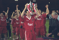 LIVERPOOL, ENGLAND - MAY 1996: Liverpool's captain Phil Brazier lifts the FA Youth Cup after beating West Ham United during the Final 2nd Leg at Anfield. (Pic by David Rawcliffe/Propaganda)
