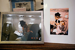 UK ENGLAND THAME 27AUG14 - Family photograph of deceased Bee Gees singer Robin Gibb with his son Robin John during a flight on Concorde, reproduced at his home in Thame, Oxfordshire.<br /> <br /> jre/Photo by Jiri Rezac<br /> <br /> © Jiri Rezac 2014