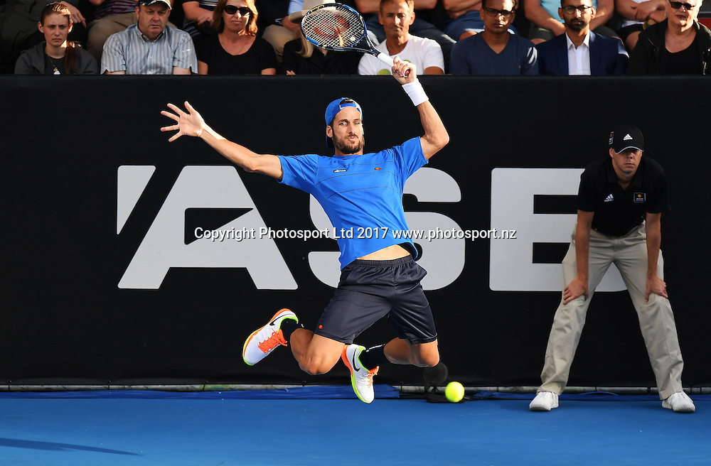 Spain's Feliciano Lopez in action during his first round singles match on opening day at the ASB Classic. ATP Mens Tennis Tournament. ASB Tennis Centre, Auckland, New Zealand. Monday 9 January 2017. © Copyright photo: Andrew Cornaga / www.photosport.nz
