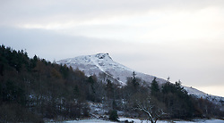 © Licensed to London News Pictures. 05/12/2012..Yorkshire, England..Overnight snow fall brings the first signs of the wintery weather that is forecast for the rest of this week to Roseberry Topping in North Yorkshire...Photo credit : Ian Forsyth/LNP
