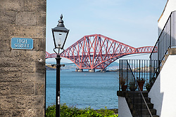 View of Forth Bridge from South Queensferry in West Lothian, Scotland, UK, United Kingdom