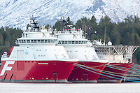 Far Statesman, Far Sigma og Far Sovereign fra Farstad Shipping ligger i opplag i Ålesund under oljekrisen 2016.<br /> Foto: Svein Ove Ekornesvåg