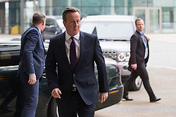 © Licensed to London News Pictures . 04/10/2015 . Manchester , UK . British Prime Minister DAVID CAMERON arrives for the Marr Show at the BBC at Media City in Salford . Photo credit: Joel Goodman/LNP