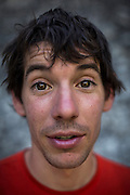 Climber Alex Honnold poses for a portrait on El Capitan in Yosemite National Park.