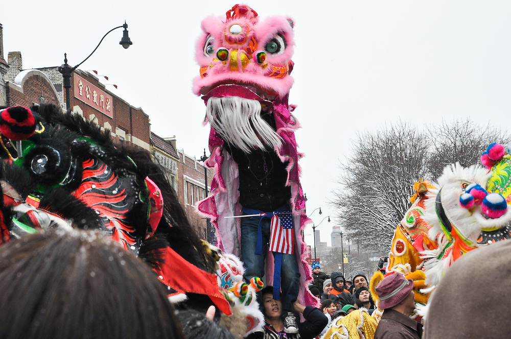 Pink Lion at the Chinese New Year Parade, Chinatown, Chicago, February 6th, 2011
