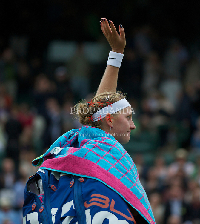 LONDON, ENGLAND - Tuesday, June 28, 2011: Petra Kvitova (CZE) celebrates after winning the Ladies' Singles Quarter-Final match on day eight of the Wimbledon Lawn Tennis Championships at the All England Lawn Tennis and Croquet Club. (Pic by David Rawcliffe/Propaganda)