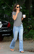 Aug. 20, 2015 - New York City, NY, USA -<br /> <br /> Katie Holmes on set of her new Movie All We Had<br /> <br /> Actress Katie Holmes wears a striped tee shirt on the set of the new movie 'All We Had' in Upstate New York<br /> ©Exclusivepix Media
