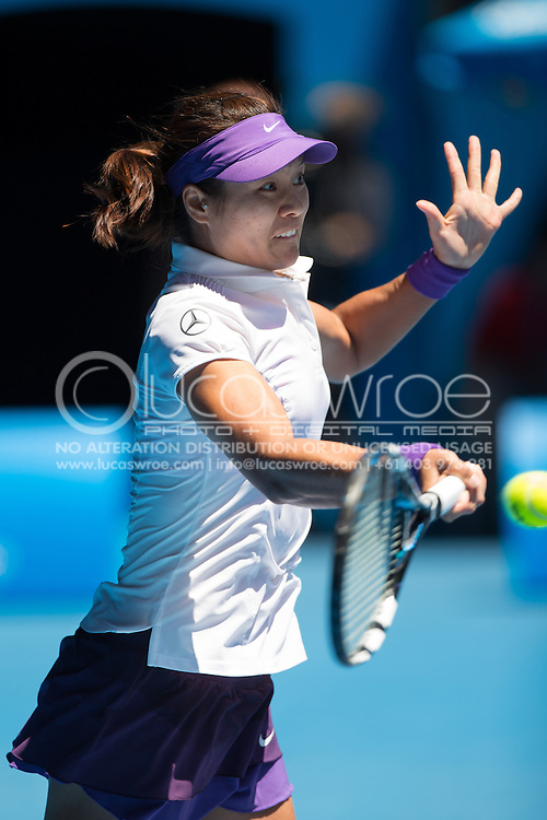 Na Li (CHN). Day 8. Round 4. Melbourne Olympic Park, Melbourne, Victoria, Australia. 21/01/2013. Photo By Lucas Wroe