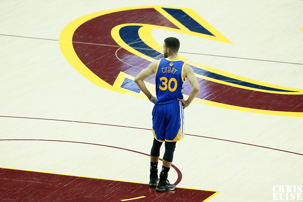 09 June 2017: Golden State Warriors guard Stephen Curry (30) rests during the Cleveland Cavaliers 137-11 victory over the Golden State Warriors, in game 4 of the 2017 NBA Finals, at  the Quicken Loans Arena, Cleveland, Ohio, USA.