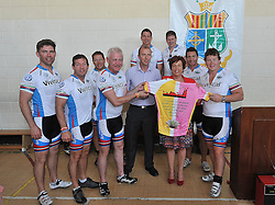 The CROSS Rugby Legends Cycle stopped off at Sancta Maria College Louisburgh on tuesday where they spent time at the school with the pupils Finbarr Walsh and Paul Wallace made a special presentation of a signed Cycling Jersey to school principal Pauline Moran.<br /> From left Liam Toland, Alain Roland, Phil Kearns, Finbarr Walsh, Michael Davitt, Ms Pauline Moran Principal, David and Paul Wallace.<br /> Standing were John Smit former South African Captain and Richard Wallace.<br /> Pic Conor McKeown