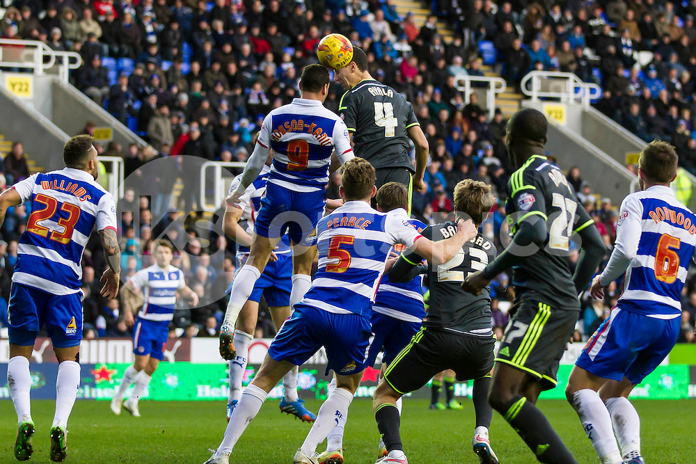 Daniel Ayala of Middlesbrough heads the ball in the area during the Sky Bet Championship match between Reading and Middlesbrough at the Madejski Stadium, Reading, England on 10 January 2015. Photo by Gareth  Brown.