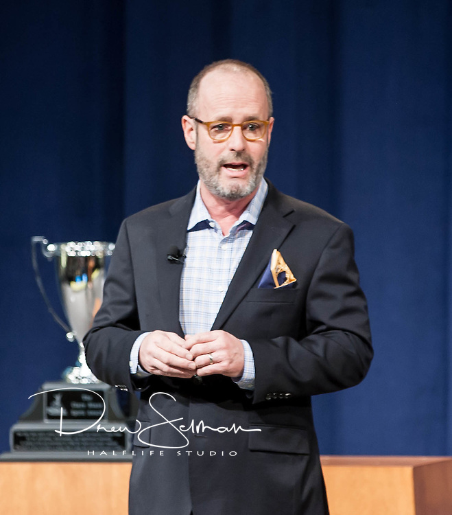 28 Feb 2015 - St. Louis  --  Scott Anderson introduces Terri Griege at the PTC Yellow Jersey Celebration.  Anderson promised to earn a yellow jersey for fundraising each year he was living.