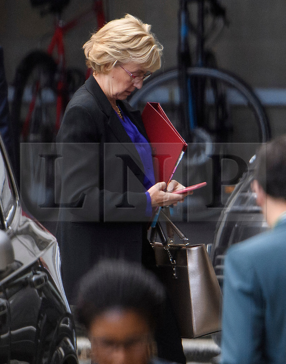© Licensed to London News Pictures. 04/09/2019. London, UK. Conservative MP ANDREA LEADSOM is seen at the Houses of Parliament in Westminster, London. British Prime Minister Boris Johnson has a called for a general election after losing his first commons vote and losing his majority, removing his control of parliament. Photo credit: Ben Cawthra/LNP