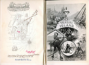 Robert Louis Stevenson (1850-94) 'Treasure Island' adventure novel for children first serialised as 'The Sea Cook: or, Treasure Island' in 'Young Folks' 1881-82 and in book form 1883. Frontispiece and half-title of 1886 illustrated edition showing map of island of Hispaniola with instruction for finding pirates' treasure .