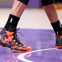 09 March 2014: Close view of Oklahoma City Thunder point guard Russell Westbrook (0) Nike Air Jordan shoes during the Los Angeles Lakers 114-110 victory over the Oklahoma City Thunder at the Staples Center, Los Angeles, California, USA.