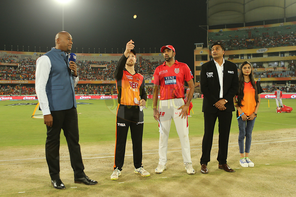 Kane Williamson of the Sunrisers Hyderabad and Ravichandran Ashwin of the Kings XI Punjab at the toss   during match twenty five of the Vivo Indian Premier League 2018 (IPL 2018) between the Sunrisers Hyderabad and the Kings XI Punjab  held at the Rajiv Gandhi International Cricket Stadium in Hyderabad on the 26th April 2018.<br /> <br /> Photo by: Ron Gaunt /SPORTZPICS for BCCI