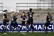 Everton Women's Team celebrate their opening goal from Everton forward Chantelle Boye-Hlorkah (7) 0-1 during the FA Women's Super League match between Manchester City Women and Everton Women at the Sport City Academy Stadium, Manchester, United Kingdom on 20 February 2019.