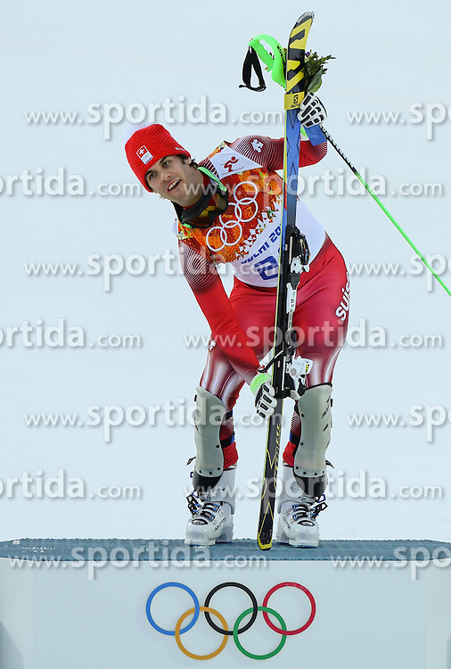 14.02.2014, Rosa Khutor Alpine Center, Krasnaya Polyana, RUS, Sochi, 2014, Super- Kombination, Herren, Flower Ceremonie, im Bild Olympia Sieger Sandro Viletta (SUI) // Olympic Champion Sandro Viletta of Switzerland during the Flower Ceremony of the mens Super Combined of the Olympic Winter Games 'Sochi 2014' at the Rosa Khutor Alpine Center, Krasnaya Polyana, Russia on 2014/02/14. EXPA Pictures &copy; 2014, PhotoCredit: EXPA/ Minkoff<br /> <br /> *****ATTENTION - OUT of GER*****