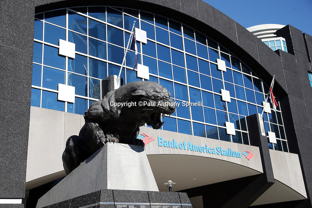 Exterior general view of Bank of America Stadium before the Carolina Panthers NFC Divisional Playoff NFL football game against the San Francisco 49ers on Sunday, Jan. 12, 2014 in Charlotte, N.C. ©Paul Anthony Spinelli