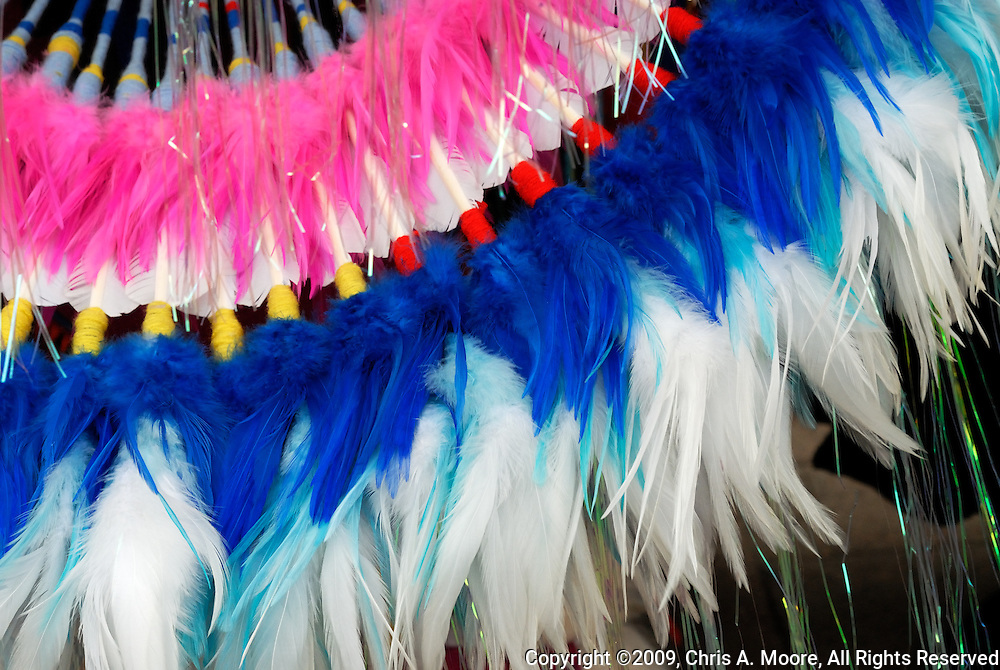 A closeup of a Fancy Dance Bustle on a Native American dancer at the 20th Anniversary Friendship Powow held at the Denver Art Museum, Denver, Colorado, September 2009.