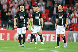 17.09.2015, Estadio San Mames, Bilbao, ESP, UEFA EL, Athletic Club vs FC Augsburg, Gruppe L, im Bild l-r: enttaeuschung bei Piotr Trochowski #15 (FC Augsburg) und Tobias Werner #13 (FC Augsburg), // during UEFA Europa League group L match between Athletic Club Bilbao and FC Augsburg at the Estadio San Mames in Bilbao, Spain on 2015/09/17. EXPA Pictures &copy; 2015, PhotoCredit: EXPA/ Eibner-Pressefoto/ Kolbert<br /> <br /> *****ATTENTION - OUT of GER*****