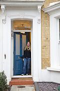 Lana Wrightman at her  front door on 31 Groombridge Road, Hackney, London CREDIT: Vanessa Berberian for The Wall Street Journal<br /> HACKNEY-Lana Wrightman