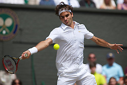 LONDON, ENGLAND - Wednesday, June 30, 2010: Roger Federer (SUI) during the Gentlemen's Singles Quarter-Final on day nine of the Wimbledon Lawn Tennis Championships at the All England Lawn Tennis and Croquet Club. (Pic by David Rawcliffe/Propaganda)