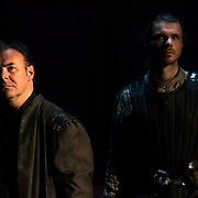 March 24, 2016 - New York, NY : From left, Sean Chapman (as Northumberland) and Matthew Needham (as Harry Percy) perform during a photo call/dress rehearsal for The Royal Shakespeare Company's (RSC) Richard II at the Brooklyn Academy of Music's (BAM) Harvey Theater in Brooklyn on Thursday afternoon. The production, which is being directed by RSC Artistic Director Gregory Doran as part of Shakespeare's Great Cycle of Kings, marks the 400th anniversary of William Shakespeare's death.  CREDIT: Karsten Moran for The New York Times