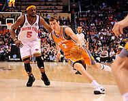 Mar. 26 2010; Phoenix, AZ, USA; Phoenix Suns guard Goran Dragic (2) drives the ball against New York Knicks guard Bill Walker (5) in the second half at the US Airways Center.  The Suns defeated the Knicks 132-96.  Mandatory Credit: Jennifer Stewart-US PRESSWIRE.