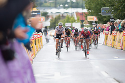 Susanne Andersen (NOR) of Team Norway pips Thalita de Jong (NED) of Rabo-Liv Cycling Team for second place at the finish line of the 97,1 km second stage of the 2016 Ladies' Tour of Norway women's road cycling race on August 13, 2016 between Mysen and Sarpsborg, Norway. (Photo by Balint Hamvas/Velofocus)