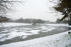 LIVERPOOL, ENGLAND - Friday, January 18, 2013: Sefton Park's Boating Lake is frozen over as a couple feed the ducks during the first snow fall of the winter in South Liverpool's Victorian Park. (Pic by David Rawcliffe/Propaganda)