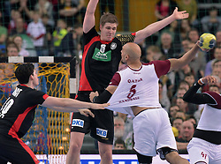 11.03.2016, Leipzig, GER, Handball Länderspiel, Deutschland vs Katar, Herren, im Bild Fabian Wiede (GER #10) und Finn Lemke (GER #6) gegen Marko Bagaric (QAT #5) // during the men's Handball international Friendlies between Germany and Qatar in Leipzig, Germany on 2016/03/11. EXPA Pictures © 2016, PhotoCredit: EXPA/ Eibner-Pressefoto/ Modla<br /> <br /> *****ATTENTION - OUT of GER*****