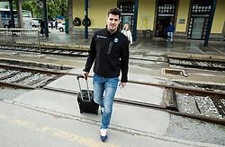 Jurij Repe during departure to Budapest of Slovenian Ice Hockey National Team, on April 17, 2017 in Railway station, Ljubljana, Slovenia. Photo by Vid Ponikvar / Sportida