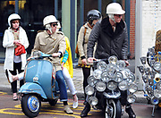 A group of mods with their scooters, London, UK, 2010