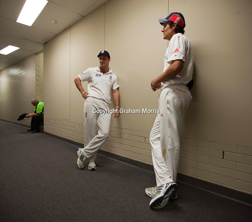 Celebrations over, captain Andrew Strauss (left) and vice-captain Alastair Cook take it all in after England retain the Ashes by beating Australia in the fifth and final Test match at the SCG in Sydney to win the series 3-1. Photo: Graham Morris (Tel: +44(0)20 8969 4192 Email: sales@cricketpix.com) 07/01/11