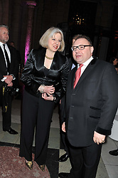 JONATHAN SHALIT and the Home Secretary THERESA MAY MP at the 50th birthday party for Jonathan Shalit held at the V&A Museum, London on 17th April 2012.
