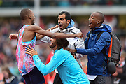 Mutaz Essa Barshim of Qatar during the Men's High Jump celebrates with fellow competitors a World Lead and Meeting Record of 2.4m during the Muller Grand Prix Birmingham 2017 at the Alexander Stadium, Birmingham, United Kingdom on 20 August 2017. Photo by Martin Cole.