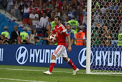 July 7, 2018 - Sochi, Russia - July 07, 2018, Sochi, FIFA World Cup 2018, the playoff round. 1/4 finals of the World Cup. Football match Russia - Croatia at the stadium Fisht. Player of the national team Alan Dzagoev. (Credit Image: © Russian Look via ZUMA Wire)