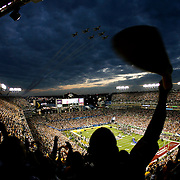 A Pittsburgh fan waves a terrible towel as the USAF Thunderbirds do a stadium fly-over during pregame to Super Bowl XLIII between the Arizona Cardinals and the Pittsburgh Steelers on February 1, 2009 at Raymond James Stadium in Tampa, Florida. (Willie J. Allen Jr.)