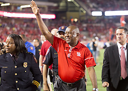 September 16, 2017 - Houston, TX, USA - Houston Mayor Sylvester Turner waves to fans during halftime of the college football game between the Houston Cougars and the Rice Owls at TDECU Stadium in Houston, Texas. (Credit Image: © Scott W. Coleman via ZUMA Wire)