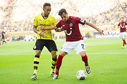 19.10.2013, Signal Iduna Park, Dortmund, GER, 1. FBL, Borussia Dortmund vs Hannover 96, 9. Runde, im Bild Zweikampf zwischen Pierre-Emerick Aubameyang (#17 Dortmund), Edgar Prib (#7 Hannover) // during the German Bundesliga 9th round match between Borussia Dortmund and Hannover 96 at the Signal Iduna Park in Dortmund, Germany on 2013/10/19. EXPA Pictures © 2013, PhotoCredit: EXPA/ Eibner-Pressefoto/ Kurth<br /> <br /> *****ATTENTION - OUT of GER*****
