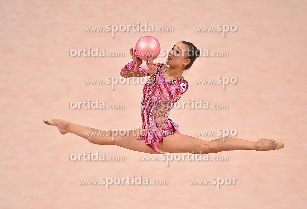 08.09.2015, Porsche Arena, Stuttgart, GER, Gymnastik WM, Gruppe D, im Bild Yeon Sae Son (KOR) Ball // during the World Rhythmic Gymnastics Championships at the Porsche Arena in Stuttgart, Germany on 2015/09/08. EXPA Pictures &copy; 2015, PhotoCredit: EXPA/ Eibner-Pressefoto/ Weber<br /> <br /> *****ATTENTION - OUT of GER*****
