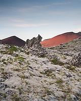 Berskerjahraun lava field in evening light. Gráakúla in background. Snæfellsnes Peninsula, West Iceland.