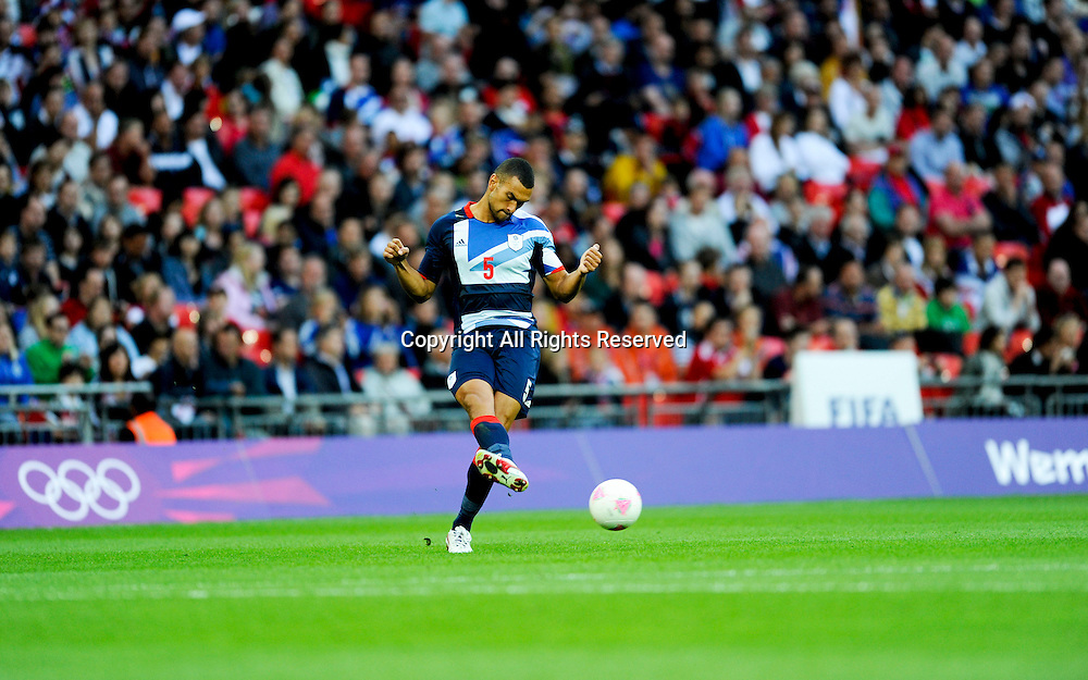 29.07.2012 London, England. Team GB  Steven Caulker (Tottenham)  in action during the Olympic Football Men's Preliminary game between TeamGB and UAE  from Wembley Stadium. TeamGB won the match 3-1.
