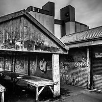 Derelict market with graffiti